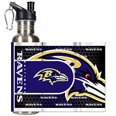 Baltimore Ravens Stainless Steel Water Bottle with Meta