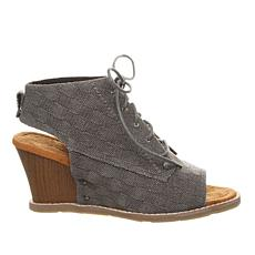 BEARPAW® Aracelli Laced Peep-Toe Wedge Shootie