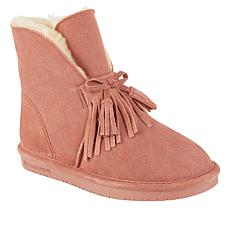 BEARPAW® Christie Suede Sheepskin Fringe Boot with NeverWet™