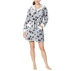 BEARPAW Plush Hooded Print Robe with Pockets