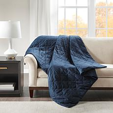 "Beautyrest 60"" x 70"" Deluxe Quilted 12-lb Weighted Blanket - Navy"