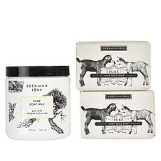 Beekman 1802 Pure Goat Milk Body Cream and Bar Soap 3-piece Set