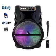 "beFree Sound 15"" Bluetooth Rechargeable Portable Party Speaker w/LEDs"