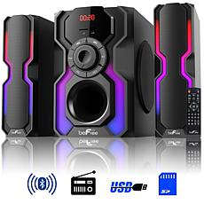 beFree Sound 2.1ch Bluetooth Multimedia Wired Speaker System w/ LEDs