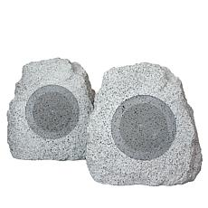 beFree Sound Outdoor Weather-Resistant Color Changing Rock Speakers