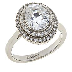 BellaMoi 2.27ctw Created Moissanite Oval Double Halo Ring