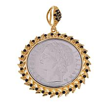 Bellezza 100 Lira Coin Black Spinel Bronze Roman Wreath Pendant
