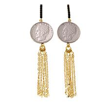 Bellezza 100 Lira Coin Black Spinel  Tassel Earrings
