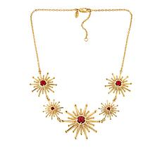 "Bellezza 18"" Bronze Red Coral Sunburst Station Necklace"