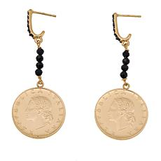 Bellezza 20 Lira Coin .92ctw Black Spinel Bronze Beaded Drop Earrings