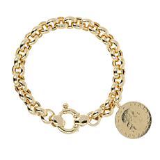 Bellezza 200 Lira Coin Bronze Chunky Rolo Drop Bracelet