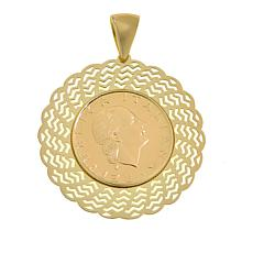 Bellezza 200 Lira-Coin Bronze Fan Pendant