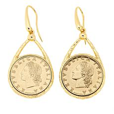 Bellezza 50 Lira Coin Bronze Hammered Drop Earrings