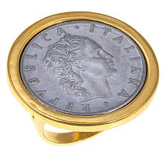 Bellezza 50 Lira Coin Polished Bronze Ring