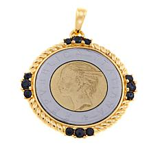 Bellezza 500 Lira Coin Black Spinel Bronze Torchon Pendant