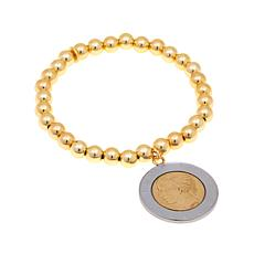 Bellezza 500 Lira Coin Bronze Beaded Stretch Bracelet