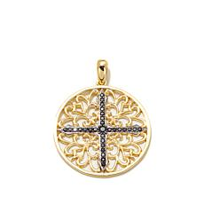 Bellezza .54ctw Black Spinel Filigree Cross Pendant