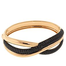 "Bellezza 5.90ctw Black Spinel Bronze 7"" Twisted Bracelet"
