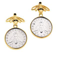Bellezza Bee Lira Coin Bronze Bee Design Drop Earrings