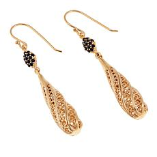 Bellezza Black Spinel Bronze Filigree Drop Earrings
