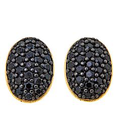 Bellezza  Black Spinel Bronze Oval Button Earrings