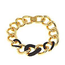 Bellezza Black Spinel Graduated Curb Link Bracelet