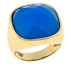 Bellezza Blue Agate Bronze Solitaire Ring