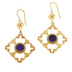 Bellezza Bronze Amethyst Cutout Scroll Drop Earrings