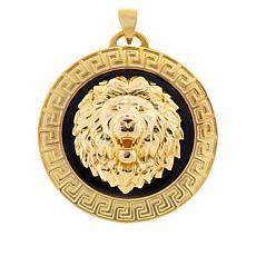 Bellezza Bronze and Black Enamel Textured Lion Pendant