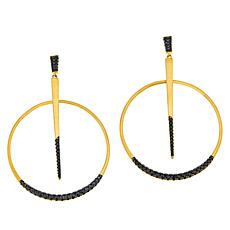 Bellezza Bronze Black Spinel Stick-and-Circle Drop Earrings