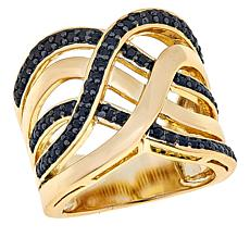 Bellezza Bronze Black Spinel Wavy Crossover Ring