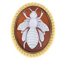 Bellezza Bronze Brown Shell Cameo Oval Bee Pin/Pendant