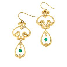 Bellezza Bronze Green Agate Bead Scroll Drop Earrings