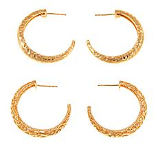 Bellezza Bronze Hammered and Filigree Hoop Earrings Set