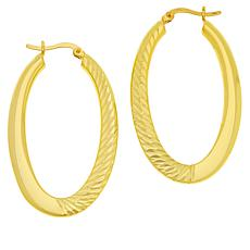 Bellezza Bronze Hammered Oval Hoop Earrings