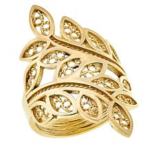 Bellezza Bronze Leaf-Design Wrap Ring