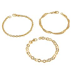 "Bellezza Bronze  Mixed Link 7-1/4"" 3-piece Bracelet Set"