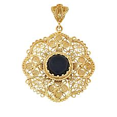 Bellezza Bronze Onyx Flower Filigree Pendant