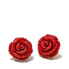 Bellezza Bronze Red Rose Stud Earrings