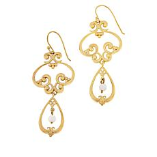 Bellezza Bronze White Agate Bead Scroll Drop Earrings