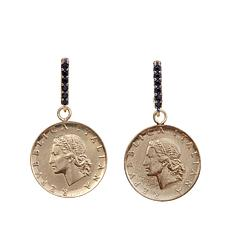 "Bellezza ""Oriana"" 20 Lira Coin Black Spinel Earrings"