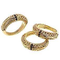 Bellezza Set of 3 Bronze Black Spinel Filigree Stack Rings