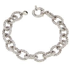 Bellezza Sterling Silver Woven Oval Link Bracelet