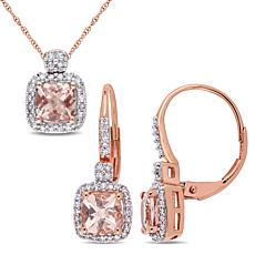 Bellini 10K Rose Gold Cushion-Cut Morganite and Diamond Jewelry Set
