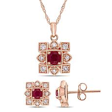 Bellini 10K Rose Gold Ruby and Diamond Artisanal Pendant and Earrings