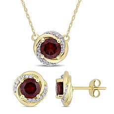Bellini 10K Yellow Gold Garnet and Diamond Swirl Necklace & Earrings