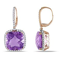 Bellini  14K Gold Amethyst and Diamond Halo Leverback Drop Earrings