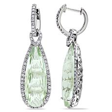 Bellini 14K Gold Elongated Prasiolite Diamond-Accented Hoop Earrings