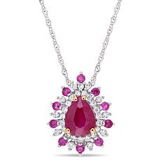 Bellini  14K Gold Ruby, Pink Sapphire and Diamond Teardrop Pendant