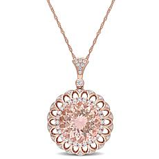 Bellini 14K Rose Gold Moganite and Diamond Pendant